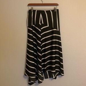 Who what where midi skirt black and white striped